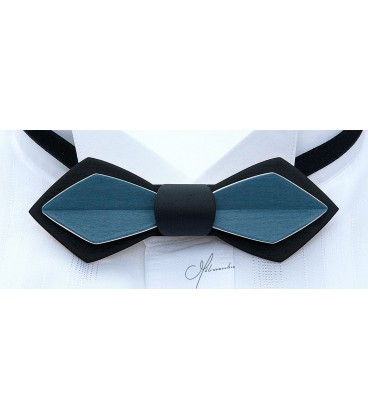 Bow tie in wood, Nib in black & blue jean's tinted Maple - MELISSAMBRE