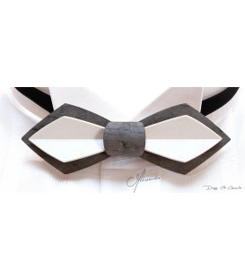 Bow tie in wood, Nib in white and grey tinted pearly Maple - MELISSAMBRE