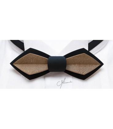 Noeud papillon bois, Plume en Erable teinté noir & bronze - MELISSAMBRE