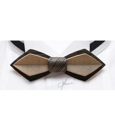 Noeud papillon bois, Plume en Chêne des marais & Erable teinté bronze - MELISSAMBRE