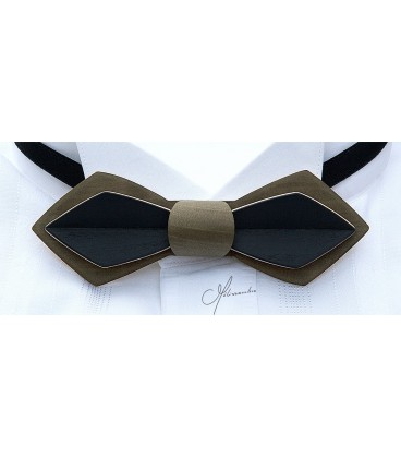 Bow tie in wood, Nib in khaki & black tinted Maple - MELISSAMBRE