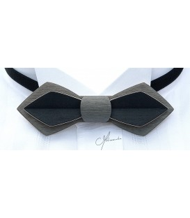 Bow tie in wood, Nib in grey & black tinted Maple - MELISSAMBRE
