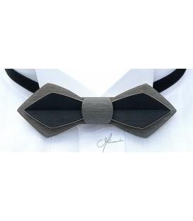 Noeud papillon en bois, Plume en Erable teinté gris & noir