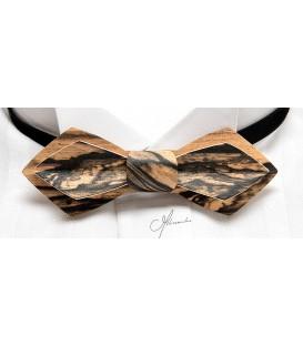 Bow tie in wood, Nib model in white Ebony