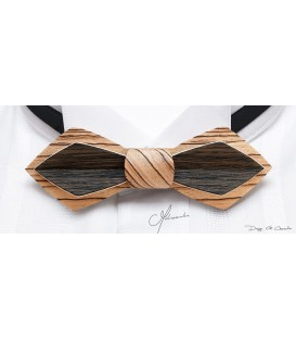 Bow tie in wood, Nib model in Zebrano & Marsh Oak