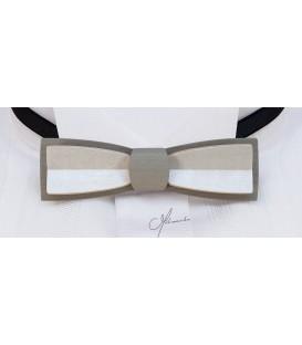 Nœud papillon en bois, Stretto en Erable teinté gris & blanc - MELISSAMBRE