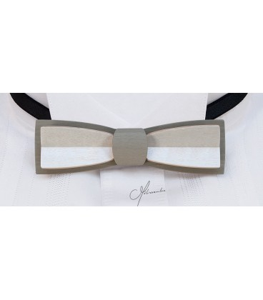 Bow tie in wood, Stretto in grey & white tinted Maple - MELISSAMBRE