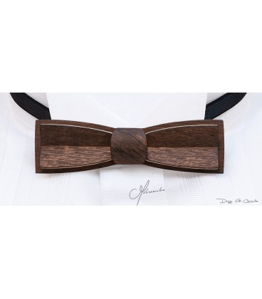 Bow tie in wood, Stretto in bronze patinated Oak - MELISSAMBRE