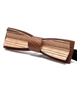 Bow tie in wood, Stretto in smoked Larch and Zebrano
