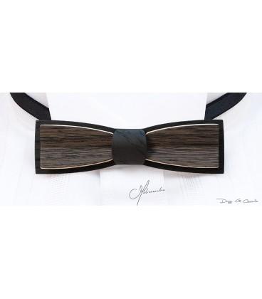 Bow tie in wood, Stretto in grey Oak & black Oak - MELISSAMBRE