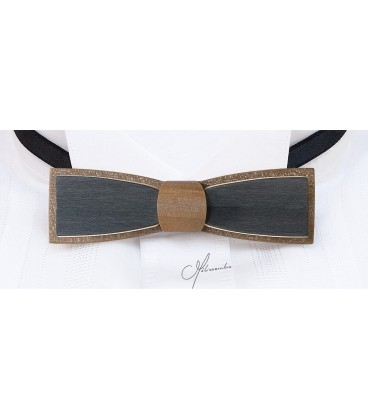 Bow tie in wood, Stretto in bronze & grey tinted Maple - MELISSAMBRE