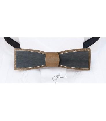 Nœud papillon en bois, Stretto en Erable teinté bronze et gris - MELISSAMBRE