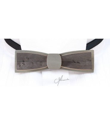 Nœud papillon en bois, Stretto en Erable perlé teinté gris - MELISSAMBRE