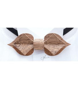 Nœud papillon en bois, Carte en Bubinga argenté - MELISSAMBRE