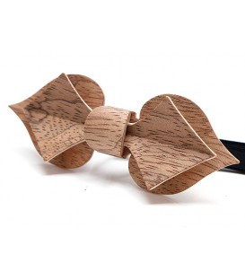 Bow tie in wood, Card in silvery Bubinga