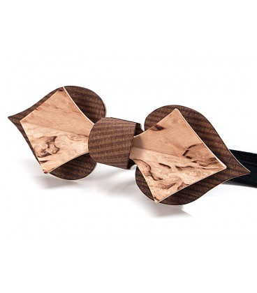 Bow tie in wood, Card in smoked Larch & mottled Birch - MELISSAMBRE