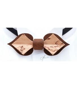 Nœud papillon en bois, Carte en Mélèze fumé & Bouleau madré - MELISSAMBRE