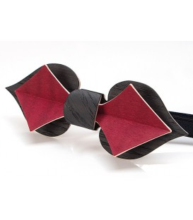 Bow tie in wood, Card in black Oak & red tinted Maple - MELISSAMBRE