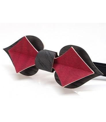 Nœud papillon en bois, Carte en Chêne noir & Erable teinté rouge - MELISSAMBRE