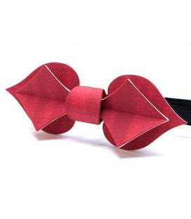 Noeud papillon en bois, Carte en Erable teinté rouge