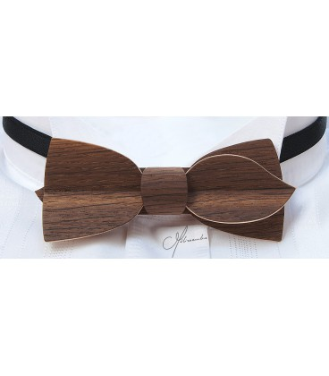 Bow tie in wood, Asymmetric in smoked Oak - MELISSAMBRE