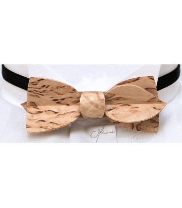 Bow tie in wood, Asymmetric in mottled Birch - MELISSAMBRE