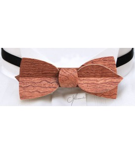 Bow tie in wood, Asymmetric in watered Bubinga - MELISSAMBRE