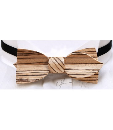 Bow tie in wood, Asymmetric in Zebrano - MELISSAMBRE