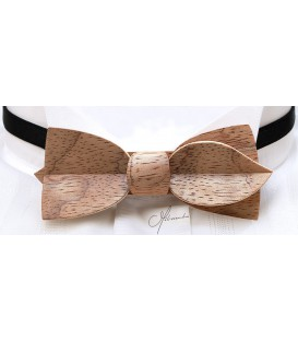 Bow tie in wood, Asymmetric in silvery Bubinga - MELISSAMBRE