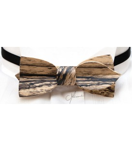 Bow tie in wood, Asymmetric in white Ebony - MELISSAMBRE