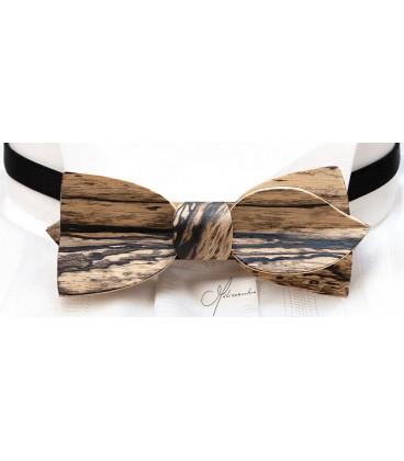 Bow tie in wood, Asymmetric in white Ebony - MELISSAMBRE