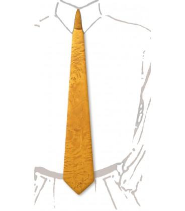 Cravate en bois, loupe de peuplier teinté jaune - MELISSAMBRE