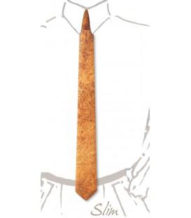 Cravate slim en bois, loupe d'Amboine or - MELISSAMBRE