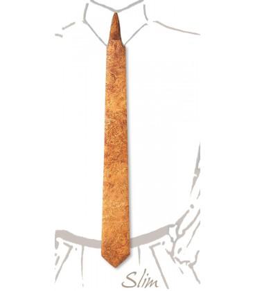 Slim wooden tie, silvery Amboyna burl - MELISSAMBRE