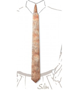 Slim wooden tie, silvery Bubinga - MELISSAMBRE