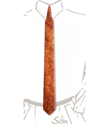 Cravate slim en bois, Amboine rouge - MELISSAMBRE