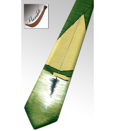 Wooden green tie, the sailboat - MELISSAMBRE