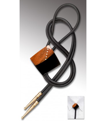 Bolo tie in two-tone Ebony, black leather - MELISSAMBRE