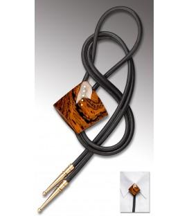 Bolo tie in Bocote, black leather - MELISSAMBRE