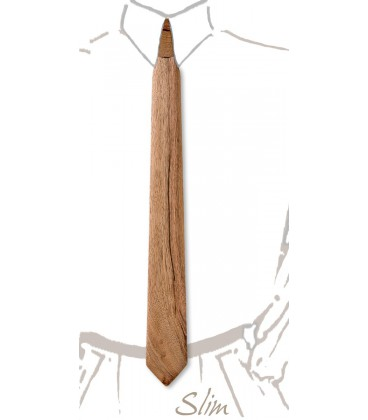 Cravate slim en bois, Noyer Français - MELISSAMBRE