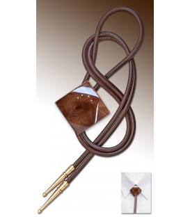 Bolo tie in Elm burl, brown leather - MELISSAMBRE