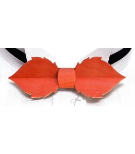Nœud papillon bois, Feuille en Erable teinté orange