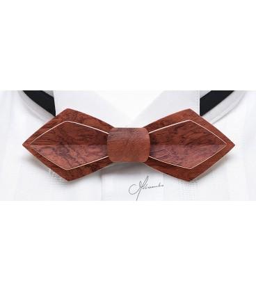 Bow tie in wood, Nib in dappled Bubinga - MELISSAMBRE