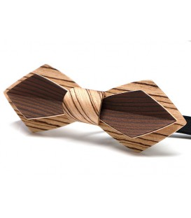 Bow tie in wood, Nib in Zebrano & smoked Larch