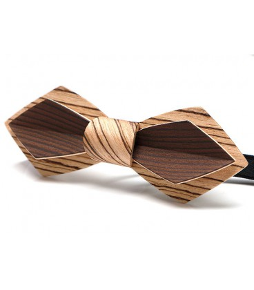Bow tie in wood, Nib in Zebrano and smoked Larch - MELISSAMBRE