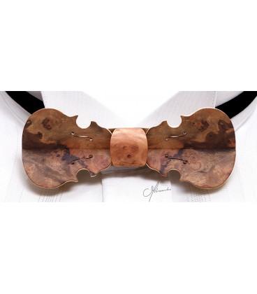 Bow tie in wood, Violin in American Walnut tree burl - MELISSAMBRE