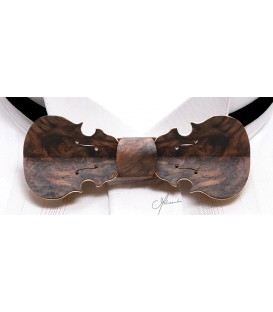 Bow tie in wood, Violin in US Walnut tree burl - MELISSAMBRE