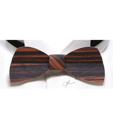 Bow tie in wood, Half-moon in Macassar Ebony - MELISSAMBRE