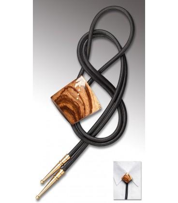 Noeud Texan en bois de Zébrano, cuir noir - MELISSAMBRE