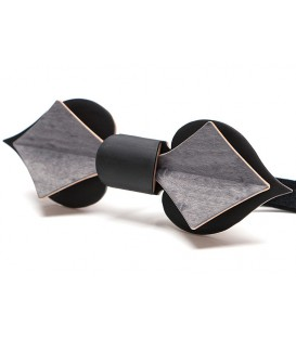 Bow tie in wood, Card in black & grey tinted Maple
